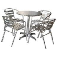 Set tavolo bar + 4 sedie in alluminio impilabili
