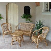 Salotto da giardino cebu giunco naturale