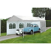 Gazebo car park rettangolare 3 x 6 mt in ferro epoxy bianco