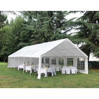 Gazebo party rettangolare 12x6 mt con finestre verniciato epoxy bianco