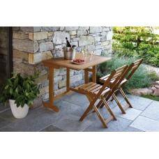 Set balcone in legno di acacia richiudibile, tavolo 95x65 cm più 2 sedie coordinate