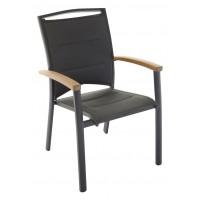 Sedia impilabile in teak e alluminio nero Minorca