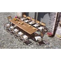 Tavolo da giardino in legno teak e alluminio nero allungabile Alicante, 220/320x100 cm