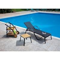 Tavolino da giardino in legno teak e alluminio nero quadrato - 50x50 cm