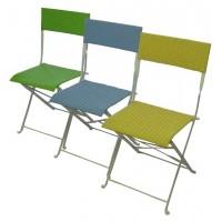 Sedia pieghevole in ferro avorio Molfetta - wicker verde mela o azzurro