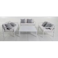 Set giardino alluminio e cuscini bianchi