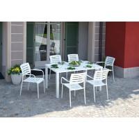 Tavolo da giardino in alluminio bianco sandy Piombino - 150x90 cm