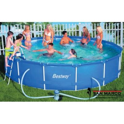 Piscina fuori terra bestway frame rotonda 427x100 cm con for Accessori piscine fuori terra bestway