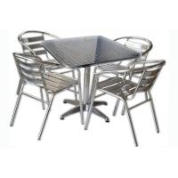 Set tavolo bar quadrato con 4 sedie in alluminio