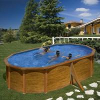 Piscina GRE ovale decorazione legno KIT 500x350