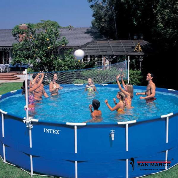 Piscina fuori terra intex metal rotonda 732 cm san marco for Tappeto per piscina intex