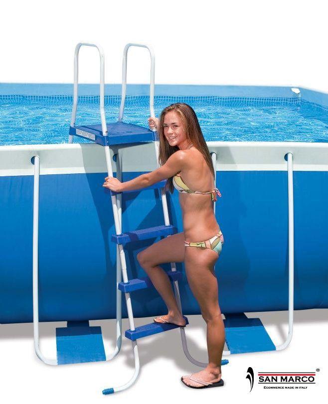 Piscina fuori terra intex metal rotonda 732 cm san marco - Scaletta per piscina fuori terra ...