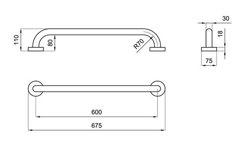 Maniglione per disabili lineare 60 cm san marco - Misure accessori bagno ...