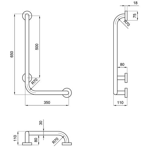 Maniglione per disabili angolo retto 35x65 maniglia di - Misure bagno per disabili ...