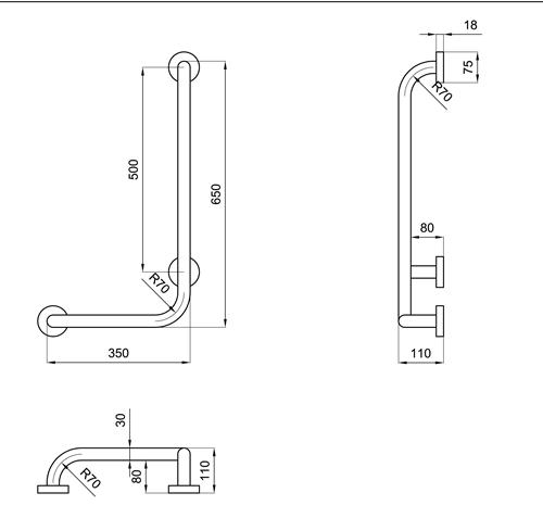 Maniglione montante per disabili 35x65 cm san marco - Arredo bagno per disabili ...