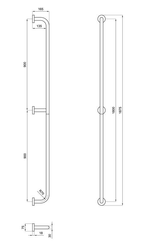 Maniglione verticale per parete 160 cm san marco - Maniglioni per disabili bagno ...