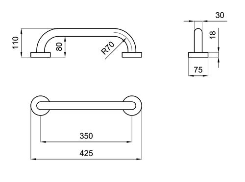 Maniglione per disabili lineare 35 cm san marco for Arredo bagno per disabili