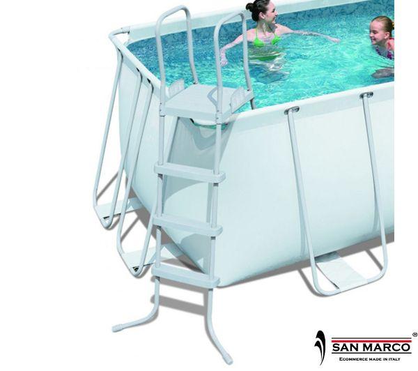 Piscina fuori terra frame rettangolare 412x201x122 cm - Scaletta per piscina fuori terra ...